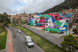 Graffitis und Street Art in Bogota / 100916<br /> <br /> *** Peace mural extends over several buildings in the Colombian capital Bogota, Colombia, September 10, 2016 ***
