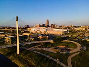 Aerial photograph of Omaha, Nebraska on a beautiful morning.