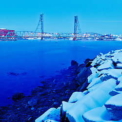 Snow on the rocks on Four Tree Island in Portsmouth, New Hampshire.