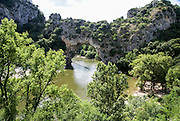 Pont d'arc natural bridge over the Ardeche River gorge, Provence, France