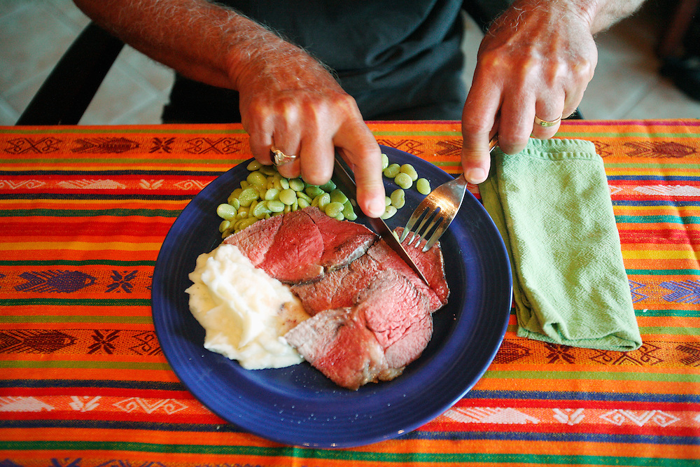 B. Mock eats a dinner of roast beef, lima beans and mashed potatoes on a colorful plate and tablecloth.
