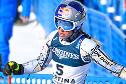 15.02.2021, Cortina, ITA, FIS Weltmeisterschaften Ski Alpin, Alpine Kombination, Damen, Super G, im Bild Ester Ledecka (CZE) // Ester Ledecka of Czech Republic reacts after the Super G competition for the women's alpine combined of FIS Alpine Ski World Championships 2021 in Cortina, Italy on 2021/02/15. EXPA Pictures © 2021, PhotoCredit: EXPA/ Erich Spiess