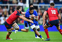 Jimmy Tuivaiti of Italy is tackled by Mark Wilson of England<br /> <br /> Photographer Craig Thomas/Replay Images<br /> <br /> Quilter International - England v Italy - Friday 6th September 2019 - St James' Park - Newcastle<br /> <br /> World Copyright © Replay Images . All rights reserved. info@replayimages.co.uk - http://replayimages.co.uk
