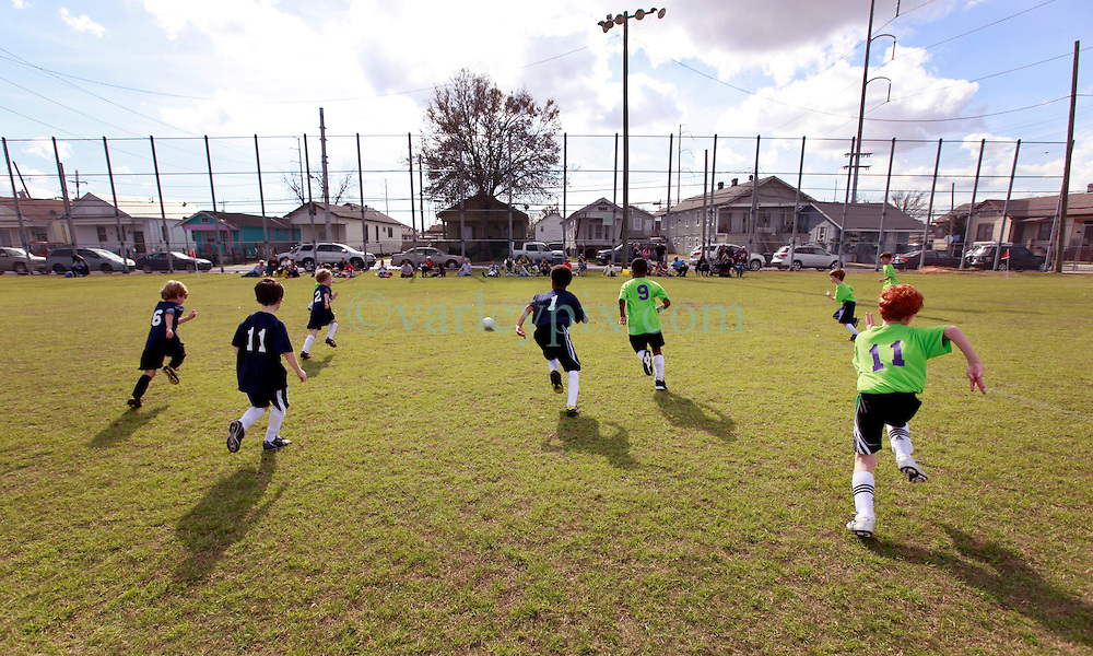 26 January 2013. New Orleans, Louisiana,  USA. .Carrolton Boosters Soccer. Under 8's. Training and play as the Owls play the Avengers in a 3-3 draw..Photo; Charlie Varley.