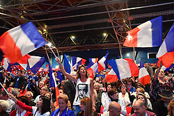 Atmosphere. Right-wing Les Republicains (LR) party's candidate for the LR party primaries ahead of the 2017 presidential election, former French President Nicolas Sarkozy's campaign rally on October 9, 2016 at the Zenith venue in Paris. Photo by Francois Pauletto/ABACAPRESS.COM