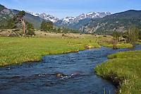 Big Thompson River flows through Moraine Park.  Rocky Mountain National Park, Colorado.