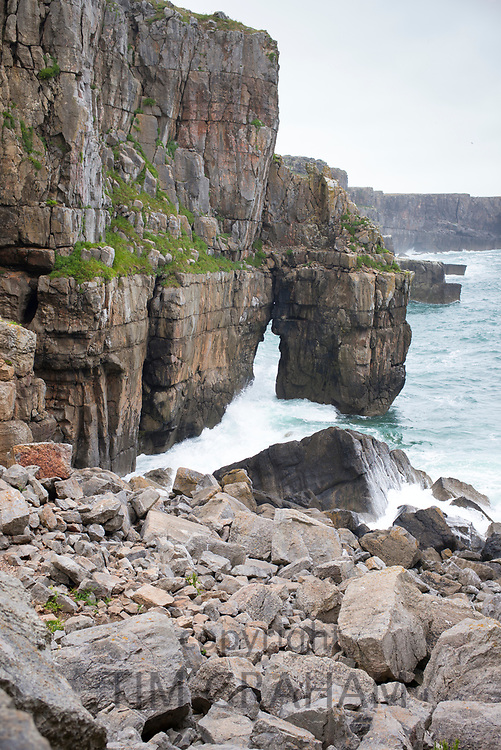 Limestone cliffs and stack at St. Govan's Head, Pembrokeshire, South West Wales