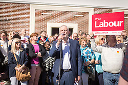 © Licensed to London News Pictures. 22/04/2017. CREWE , UK.  <br /> <br /> Labour Party leader JEREMY CORBYN visiting Crewe today (SATURDAY 22/4/17) as part of the Labour Party's general election campaign. He spoke to a crowd of people in the town centre's market square.<br />   <br /> Photo credit: CHRIS BULL/LNP
