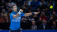 Tennis - 2019 Nitto ATP Finals at The O2 - Day One<br /> <br /> Singles Group Bjorn Borg: Novak Djokovic vs. Matteo Berrettini<br /> <br /> Novak Djokovic (Serbia) in action on court <br /> <br /> COLORSPORT/DANIEL BEARHAM