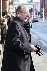 © Licensed to London News Pictures . 16/01/2014 . Salford , UK . Sir Malcolm Rifkind , MP for Kensington , arrives at the funeral .  The funeral of Labour MP Paul Goggins at Salford Cathedral today (Thursday 16th January 2014) . The MP for Wythenshawe and Sale East died aged 60 on 7th January 2014 after collapsing whilst out running on 30th December 2013 . Photo credit : Joel Goodman/LNP