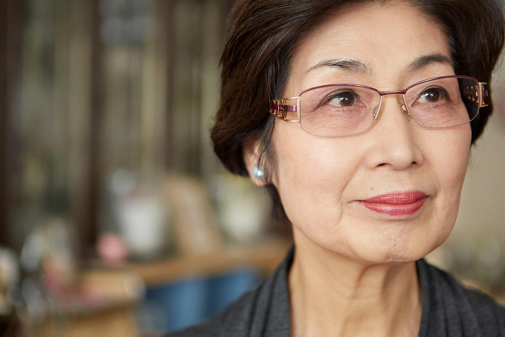 A portrait of an inspired Japanese older lady