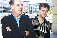 British television personality and celebrity Michael Barrymore, pictured with actor Richard Bacon at the Edinburgh International Television Festival where he took part in a session entitled 'Presenters Behaving Badly'. The Television Festival runs until 25th August.......