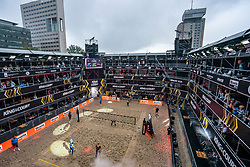 Center court with sky boxes, light show and entertainment<br />  in action during the first day of the beach volleyball event King of the Court at Jaarbeursplein on September 9, 2020 in Utrecht.