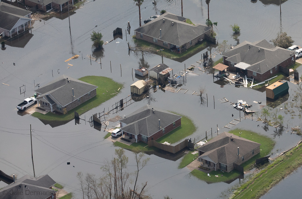 Flooded homes in LaPlace LA  in Hurricane Ida's floodwaters.