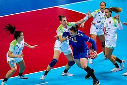 06-12-2019 JAP: Serbia - Slovenia, Kumamoto<br /> last match groep A at 24th IHF Women's Handball World Championship. / Dragana Cvijic #72 of Serbia, Teja Ferfolja #15 of Slovenia, Tjasa Stanko #10 of Slovenia