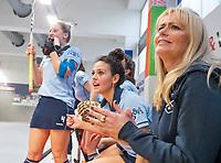 HAMBURG  (Ger) - Match 20,  for FINAL, LMHC Laren - Dinamo Elektrostal (Rus)  Photo: manager Piteke Scheringa (Laren) , Macey de Ruiter (Laren) , Lieke van Wijk (Laren)   Eurohockey Indoor Club Cup 2019 Women . WORLDSPORTPICS COPYRIGHT  KOEN SUYK