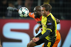 DORTMUND, Nov. 02, 2017  Mario Goetze (R) of Borussia Dortmund vies with Mickael Pote of APOEL Nicosia during their UEFA Champions League Group H soccer match in Dortmund, Germany on Nov. 1, 2017. The match ended with a 1-1 tie. (Credit Image: © Joachim Bywaletz/Xinhua via ZUMA Wire)