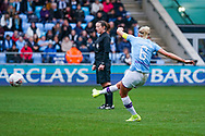 Manchester City Women defender Steph Houghton (captain) (6) takes a shot during the FA Women's Super League match between Manchester City Women and West Ham United Women at the Sport City Academy Stadium, Manchester, United Kingdom on 17 November 2019.
