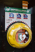 A defibrillator located inside an old phone box, to be used by the public in emergencies, placed opposite the Bucks Head pub in Godden Green, on 5th January 2019, in Kent, England.