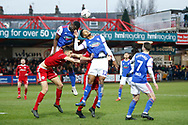 Ipswich Town defender Aristote Nsiala (22) heads clear during the The FA Cup 3rd round match between Accrington Stanley and Ipswich Town at the Fraser Eagle Stadium, Accrington, England on 5 January 2019.