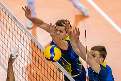 August Borna of Sweden, Jens Ahremark of Sweden in action during the CEV Eurovolley 2021 Qualifiers between Sweden and Netherlands at Topsporthall Omnisport on May 14, 2021 in Apeldoorn, Netherlands