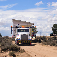 Soutwest Indian Foundation transporting a home to a Navajo miltary veteran north of Gallup, Thursday July 12. The home is built and transported in pieces and is put together onsite.