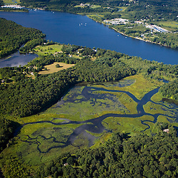 Wetlands near the Connecticut River in Lyme, Connecticut.  Aerial.