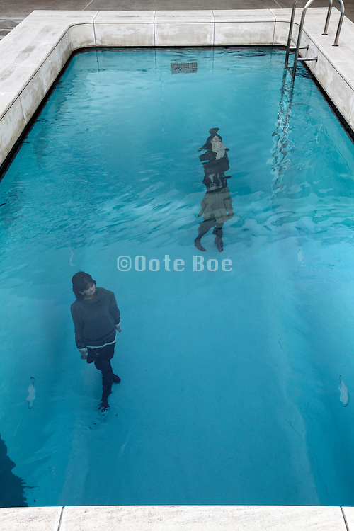 art installation 'swimming pool' by Leandro Erlich at 21st Century Museum of Contemporary Art, Kanazawa in Japan