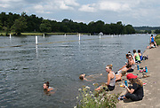 Henley. Berks, United Kingdom. <br /> <br /> Ohio State University Elite Women's Eight, relax between the semi and the final, cooling down, swimming in the river and trying out their synchronised moves, by Upper Thames RC. 2017 Henley Women's Regatta. Rowing on, Henley Reach. River Thames. <br /> <br /> <br /> Sunday  18/06/2017<br /> <br /> <br /> [Mandatory Credit Peter SPURRIER/Intersport Images]