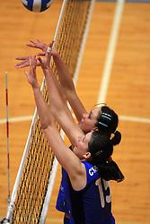Marina Cvetanovic  and Katja Jontes of Nova Gorica at 1st match of finals of 1st DOL women volleyball league between OK Hit Nova Gorica and OK Nova KBM Branik, Maribor played in OS Milojke Strukelj, on April 8, 2009, in Nova Gorica, Slovenia. Nova KBM Branik won 3:1. (Photo by Vid Ponikvar / Sportida)