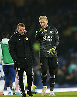 Football - 2019 / 2020 EFL Carabao (League) Cup - Quarter-Final: Everton vs. Leicester City<br /> <br /> Kasper Schmiechel and Brendan Rodgers manager of Leicester City at Goodison Park.<br /> <br /> COLORSPORT/LYNNE CAMERON