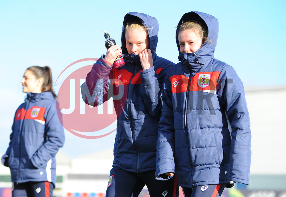 Bristol City Women inspect the pitch prior to kick-off - Mandatory by-line: Nizaam Jones/JMP - 27/01/2019 - FOOTBALL - Stoke Gifford Stadium - Bristol, England - Bristol City Women v Yeovil Town Ladies- FA Women's Super League 1