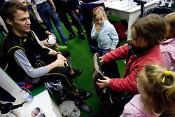 Goalkeeper of Slovenia HOCEVAR Andrej of Slovenian Ice Hockey National team  at visit of children of kindergarten Mojca from Dravlje, Ljubljana during the IIHF World Championship Division 1 Group B tournament, on April 21, 2010, in Hala Tivoli, Ljubljana, Slovenia.  (Photo by Vid Ponikvar / Sportida)