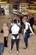 Caversham, Reading, Berks, ENGLAND, ..Official opening Redgrave Pinsent Rowing Lake and Sheriff Boathouse, By, Sirs' Matt Pinsent [left] and Steven Redgrave, 29.04.2006 © Peter Spurrier / Intersport images..Diand Thomson, chats with the GBR M4- iin the boathouse...'New 13 millon pounds British International Rowing Trianing facility at Caversham Lake' .