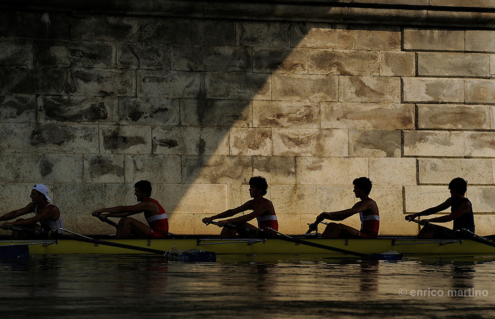 Training of a 8 regatta boat of Canottieri Armida rowing club on the Po in front of the Valentino park.
