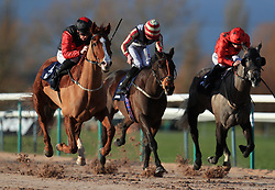 Jabbaar (l) ridden by Philip Makin wins the Betway Live Casino Handicap at Southwell Racecourse.