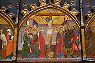 Gothic painted Panel Altarpiece of Saint Stephen by  Jaume Serra. Tempera, gold leaf and metal plate on wood. Circa 1385. Dimesions 185.7 x 186.5 x 11 cm. From the monastery of Santa Maria de Gualter (Noguera).. National Museum of Catalan Art, Barcelona, Spain, inv no: 003947-CJT .<br /> <br /> If you prefer you can also buy from our ALAMY PHOTO LIBRARY  Collection visit : https://www.alamy.com/portfolio/paul-williams-funkystock/gothic-art-antiquities.html  Type -     MANAC    - into the LOWER SEARCH WITHIN GALLERY box. Refine search by adding background colour, place, museum etc<br /> <br /> Visit our MEDIEVAL GOTHIC ART PHOTO COLLECTIONS for more   photos  to download or buy as prints https://funkystock.photoshelter.com/gallery-collection/Medieval-Gothic-Art-Antiquities-Historic-Sites-Pictures-Images-of/C0000gZ8POl_DCqE