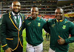Lukhanyo Am with Sibusiso Nkosi and Chiliboy Ralepelle of South Africa- Mandatory by-line: Steve Haag/JMP - 23/06/2018 - RUGBY - DHL Newlands Stadium - Cape Town, South Africa - South Africa v England 3rd Test Match, South Africa Tour
