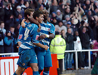 Photo: Kevin Poolman.<br />Reading v Birmingham City. The FA Cup. 28/01/2006.<br />Reading's Shane Long (L) and Leroy Lita (R) celebrate the first goal.