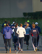 Amsterdam. NETHERLANDS. USA Women's heavy weight [sweep], set off on a pre outing jog,  2014 FISA  World Rowing. Championships.  De Bosbaan Rowing Course . 07:38:34  Thursday  21/08/2014  [Mandatory Credit; Peter Spurrier/Intersport-images]