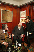 JUSTIN DE VILLENEUVE, PETER BLAKE AND DAISY BATES, Sir Peter Blake and Poppy De Villeneuve host a party with University of the Arts London at the Arts Club, Dover Street, London. 20 APRIL 2006<br />ONE TIME USE ONLY - DO NOT ARCHIVE  © Copyright Photograph by Dafydd Jones 66 Stockwell Park Rd. London SW9 0DA Tel 020 7733 0108 www.dafjones.com