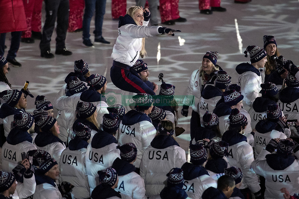 February 25, 2018 - Pyeongchang, KOR - Lindsey Vonn is carried as Team USA enters Pyeongchang Olympic Stadium during the Closing Ceremony of the 2018 Pyeongchang Winter Olympics on Sunday, February 25, 2018 in South Korea. (Carlos Gonzalez/Minneapolis Star Tribune/TNS) ORG XMIT: 1224504 ORG XMIT: MIN1802251549180991 (Credit Image: © Carlos Gonzalez/Minneapolis Star Tribune via ZUMA Wire)