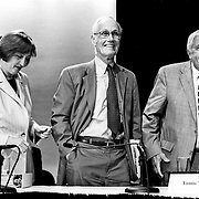 From left: Jamie Gorelick; Slade Gorton; Fred Fielding at the 9/11 Commission's 11th Public Hearing, New School University, New York.