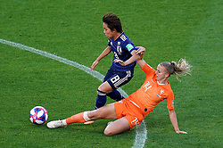 Japan's Mana Iwabuchi (left) and Netherlands' Jackie Groenen battle for the ball