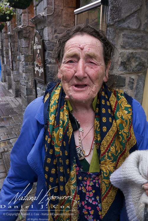 Homeless woman on the streets of Galway, Ireland.