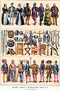 Court and military costumes plus items of weaponry, armour and furniture from 17th Century Spain