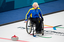 March 10, 2018 - Pyeongchang, SOUTH KOREA - 180310 Kristina Ulander, second skipper of Sweden, during the wheelchair curling mixed round robin session between Sweden and China during day one of the 2018 Winter Paralympics on March 10, 2018 in Pyeongchang..Photo: Vegard Wivestad GrÂ¿tt / BILDBYRN / kod VG / 170113 (Credit Image: © Vegard Wivestad Gr¯Tt/Bildbyran via ZUMA Press)