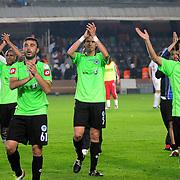 Konyaspor's players (Left to Right) Abdulvahit KARACABEY, Ufukhan BAYRAKTAR, Ahmet Gorkem GORK, Ugur YANIKDEMIR celebrate victory during their Play Off Second leg match at AliSamiYen Stadium in Istanbul Turkey on Thursday, 20 May 2010. Photo by TURKPIX