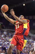 Iowa State guard Will Blalock drives to the basket in the first half against Kansas State at Bramlage Coliseum in Manhattan, Kansas, February 8, 2006.  Iowa State leads at halftime 28-24.