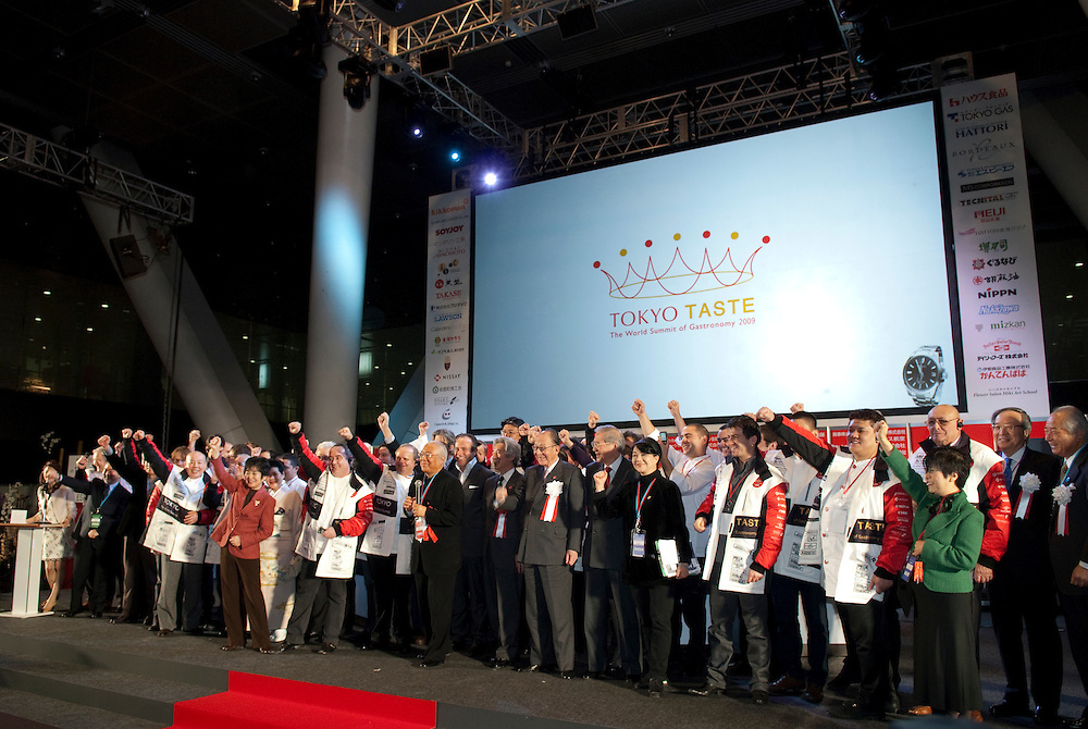 """Chefs and guests shout the slogan """"Let's Shokuiku"""" at the opening ceremony of Tokyo Taste, The World Summit of Gastronomy 2009. 9 February 2009,Tokyo, Japan.Many of the world's top chefs are assembled for the sold-out 3 day event in the center of Tokyo."""